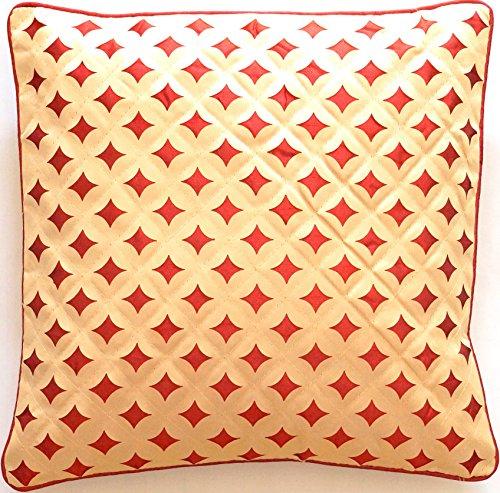 Ruwado beige met roest lasergesneden patroon - Zijden kussensloop   Kussensloop met rand   Sofakussensloop   Decoratiekussen   Sierkussen uit India - 40 cm x 40 cm