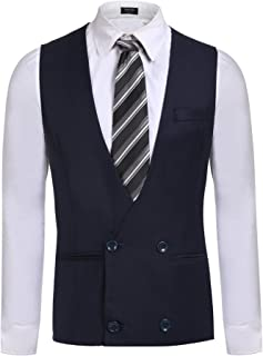 COOFANDY Men's Double-Breasted Business Suit Vest V-Neck Tuxedo Vest Waistcoat