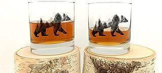 Rock Glasses - Double Exposure Bear - Screen Printed Whiskey Glasses - Set of Two 11oz. Tumblers