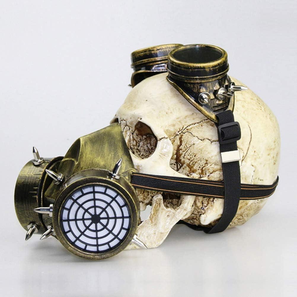 miwaimao Steampunk Gasmasker Bril Steampunk Gasmasker Goggles Spikes Skelet Warrior Dood Maskerade Cosplay Halloween Kostuum Props, Gouden goud