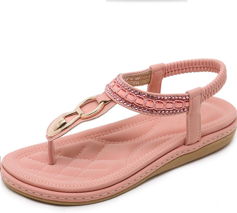 Lady Summer Fashion Lady Fashion Sweet Bohemian Rhinestone Soft Flat Slip Clips Sexy Indoor Sandals Women Slippers Sandals XIAOQI