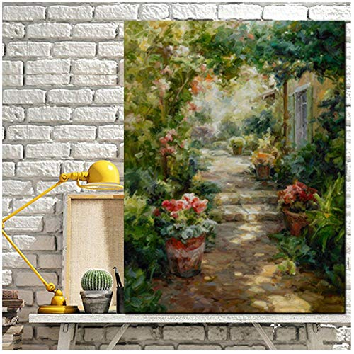 Mmdianpu HD Druck Abstrakte Pastoralen Gartenhaus Landschaftsmalerei auf Leinwand Moderne Poster Kunst Wandbild für Wohnzimmer (50x70 cm kein Rahmen)
