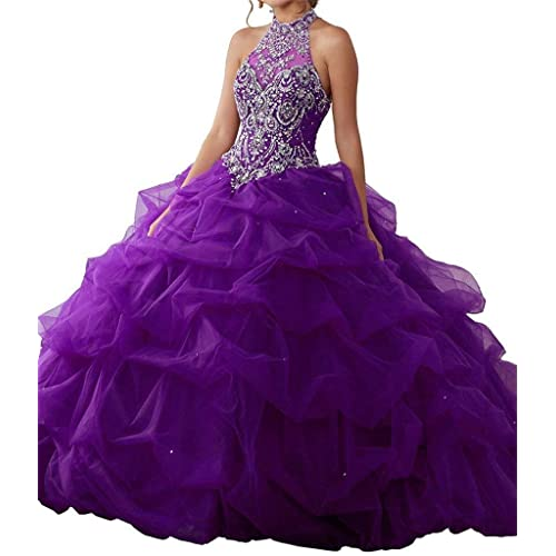 f4ebbd16ec4 Wenli 2019 Women High Neck Neaded Ball Gowns Long Quinceanera Dresses