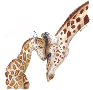 Mom and Baby Giraffe Watercolor Art Nursery Wall Art Various Sizes Available - Safari Nursery Decor