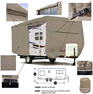 Seamander RV Cover Travel Trailer Extra Thick Triple-ply Top Panel (Beige, Fits 24'-27'Trailers)