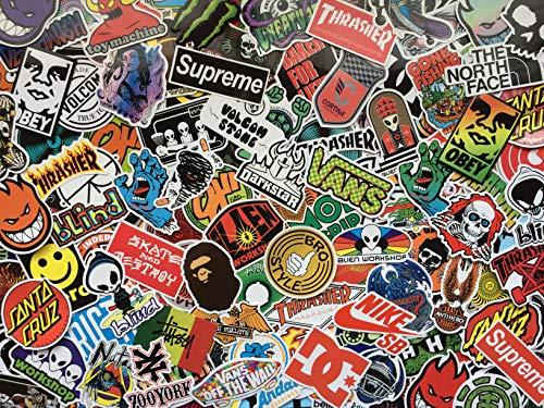 Unbekannt Aufkleber-Set Skateboard, Marken, Logos, Aufkleber, Skate, Snowboard, Rollboard, Energy Drink, Street, Sport, Sticker aus Vinyl, wasserdicht, für Deko, Skate, BMX, Motorrad, Graffiti