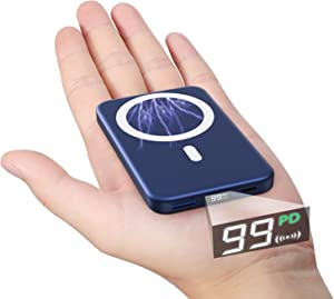 DEKSMO Wireless Power Bank Fast Charging USB c pd 22.5W 10000mAh 20W Mini Slim Laptop Wireless MagneticPortable Charger Girl PhonesBattery Pack qc3.0 for iPhone 12/11/10/12Pro Max/mag-Safe/Samsung