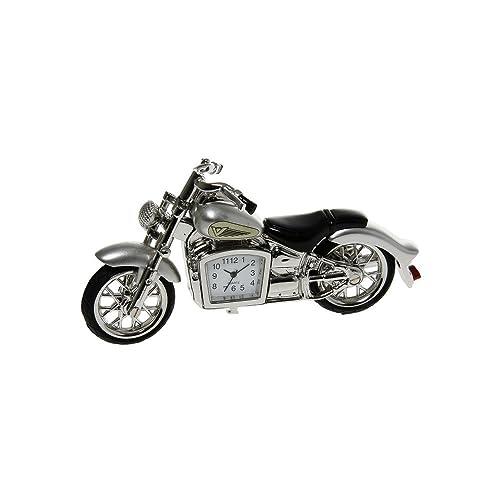 SUPERB QUALITY MINIATURE SILVER CLASSIC MOTORBIKE NOVELTY QUARTZ CLOCK BOXED