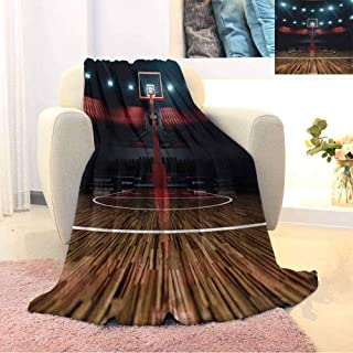 GGACEN Teen Room Luxury Special Grade Blanket Professional Basketball Arena Stadium Before The Game Championship Sports Image Multi-Purpose use for Sofas etc. W70 x L70 Inch Multicolor