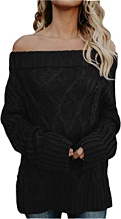 FEIYOUNG Women Long Sleeve Slim Fit Cable Basic Off Shouder Pullover Sweater Knit Jumper