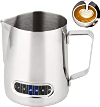 Centerline 600ml Stainless Steel Milk Coffee Pitcher Thermometer Frothing Jug Material, for Espresso Machine