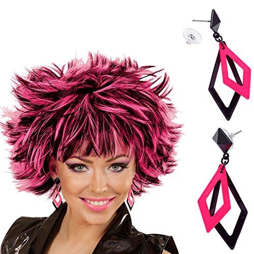 Amakando Rhombus Damenohrringe - Schwarz-Rosa - Modeschmuck Ohrstecker Schmuck Ohrclips 80s Ohrschmuck Neon Kostüm Zubehör Damen 80er Jahre Ohrringe