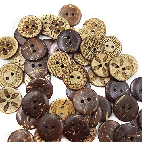 Grbewbonx 50 unids/Lote de Botones de 2 Agujeros de cáscara de Coco marrón para Coser Scrapbooking 18mm