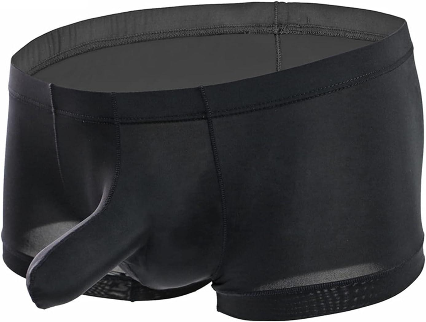 Mens Elephant Nose Soft Boxer Briefs Bulge Pouch Breathable Thong Underpants Low Rise Sexy U Convex Jockstrap Underwear (Black,Medium)