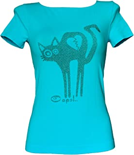SENSI' T-Shirt Donna Manica Corta Stampa Minou Microfibra Traspirante Senza Cuciture Seamless Made in Italy