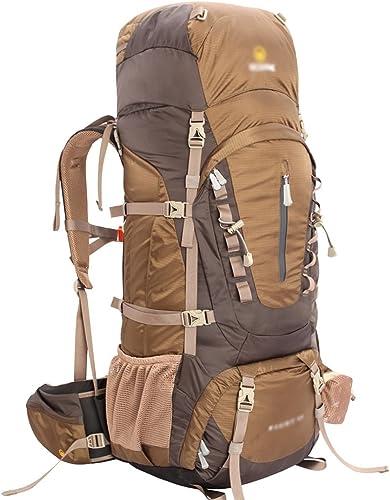 COZY HOME AAA Alpinisme Sac Aventure série en Plein air Hommes et Femmes Voyage imperméable Sac d'alpinisme Sac à Dos 55 65   75L Sac à Dos (Couleur   marron, Taille   55L-35  28  82cm)