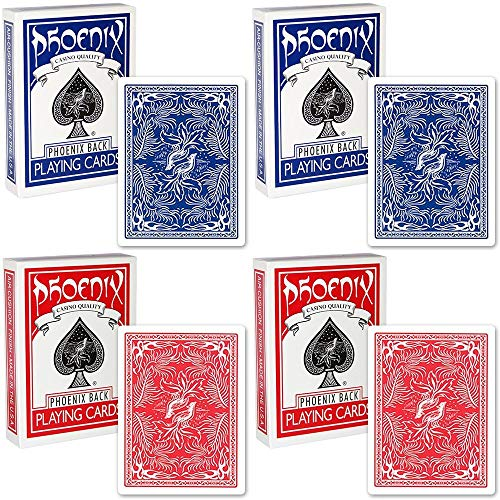 4 Kartenspiele Playing Cards Phoenix Colore Blu/Red