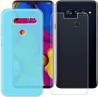 YZKJ Fodral för LG V40 ThinQ Cover blå mjuk silikon skyddande skal TPU skal fodral + pansarglas skärmskydd för LG V40 Thin...