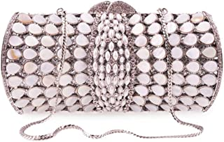 Ladies banquet bag Made Fine Ladies Fashion Rhinestone Diamond Shell Clutch Bag Banquet Party Wedding Celebration Bride Dress Evening Gift Bag Chain Shoulder Bag Handbag Female Shining (Color : Silver