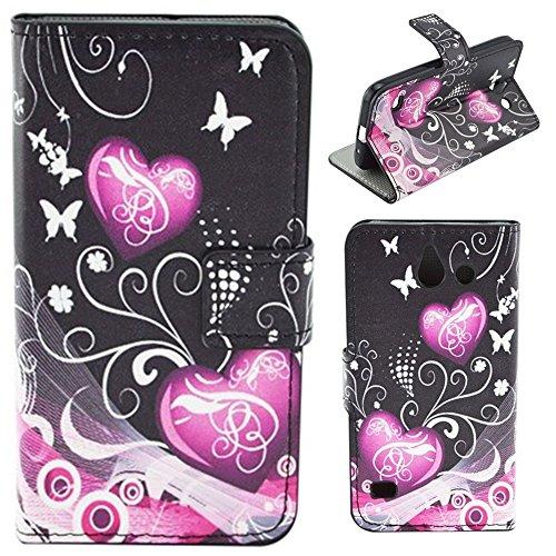 HUANGTAOLI Custodia in Pelle Portafoglio Flip Case Cover per Huawei Ascend Y550 Smartphone,4.5 Pollici