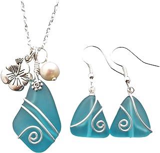 """alambre de Hawaii collar envuelta de cristal azul del mar turquesa Bay + aretes,""""Diciembre piedra natal"""", hibisco y perlas..."""