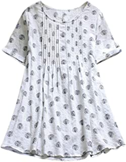 Tシャツ 半袖 カジュアルシャツ トップス 夏服 速乾 部屋着 綿麻 上質 丸首 大きサイズ 無地 ファッション レディース 人気 2019 春夏