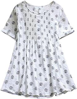 Willow S Women Fashion Casual Boho Plus Size O-Neck Short Sleeve Loose Linen Dot Wave Swing Long Tops T-Shirt Blouse