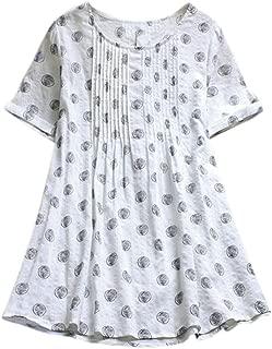 Aniywn Women's Polka Dot Printed Linen Short Sleeve Tunic Blouse Loose Casual Swing Shirt Tee Tops