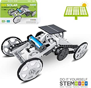 Refial STEM Toys, 4WD Car DIY Solar Powered Climbing Vehicle Motor Car for Kids & Teens,Electric Mechanical Assembly Gift Toys,Kids Science Circuit Building Projects Toys Kit