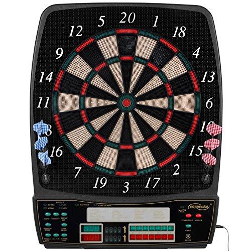 Physionics® Elektronische Dartscheibe - viele Spiele, mehr als 100 Spielvarianten, 12 Dartpfeile, 100 Ersatzspitzen, Netzteil, bis 16 Spieler, 3 Modelle - LED Anzeige Dartboard, Dartautomat, Dartspiel