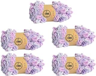 5 Skeins Finger Knitting Yarn 100% Polyester Off The Hook Soft Baby Blanket Fun Finger Loop It Yarn Total 500g (Multi Purple)
