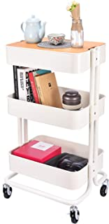 3-Tier Metal Utility Rolling Cart Storage Organizer with Cover Board for Office Home Kitchen Organization, Cream White