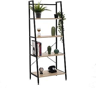 Bestier Vintage Ladder Shelf 4 Tier Bookshelf Metal and Wood Bookcase Home Office Storage Rack Display Shelf (Oak)