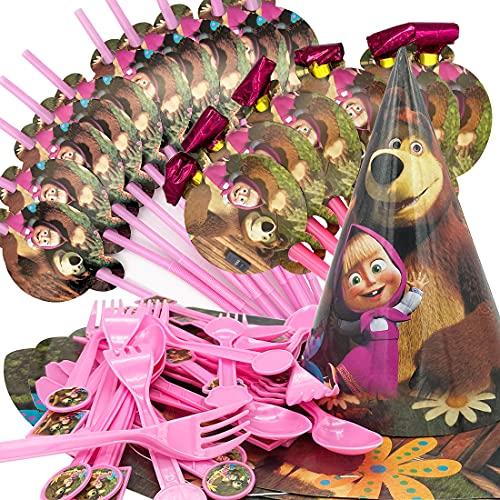 52 Pezzi Masha con Orso Set di Stoviglie per Feste,Includere Coltello da tavola Forchetta Cucchiaio Cannucce Drago Che Soffia e Cappelli per Feste Set Festa di Compleanno Decorazioni Articoli