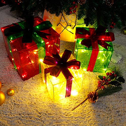 Lulu Home Christmas Lighted Gift Boxes, 60 LED Light Up Deocr Outdoor, Light Up Christmas Boxes Present Decorations Outdoor Yard Red Green Yellow