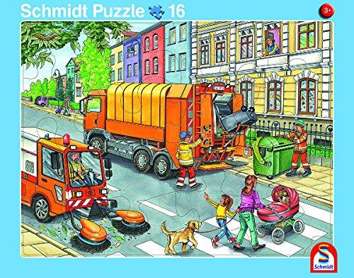 Schmidt Spiele 2er-Set Rahmenpuzzle Müllauto und Baustelle 16+24 Teile