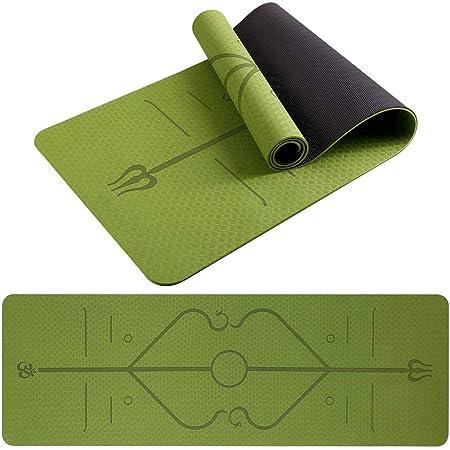 Tappetino yoga - Tappetino da palestra in TPE ecologico con linee di allineamento, superficie antiscivolo testurizzata, tappetino da allenamento antiscivolo spesso con borsa per il trasporto