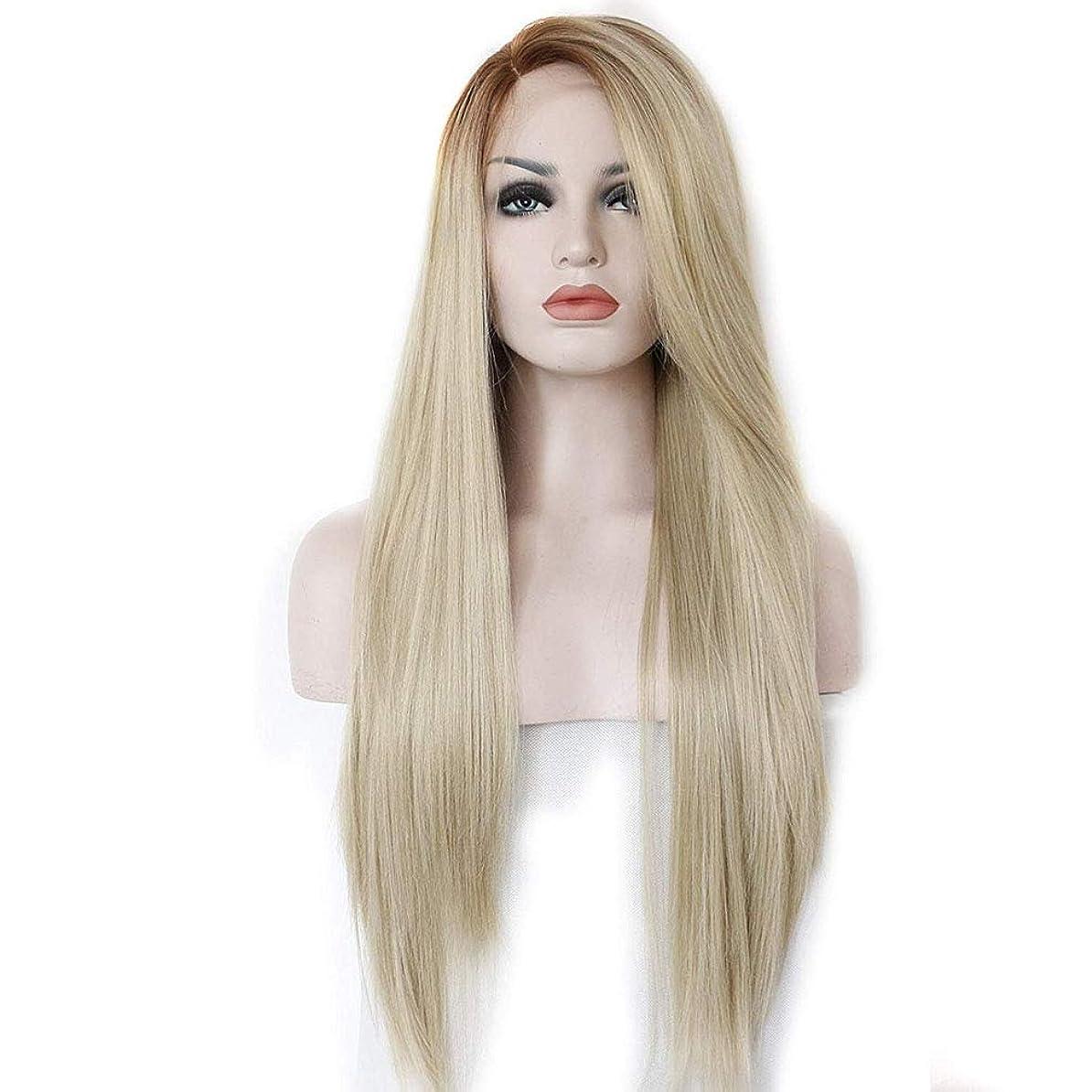 リル文庫本反響するウィッグ女性のブロンドサイドパーツ自然なロングストレートヘアピース合成レースフロントヒートセーフハーフハンド縛ら22インチ用女性