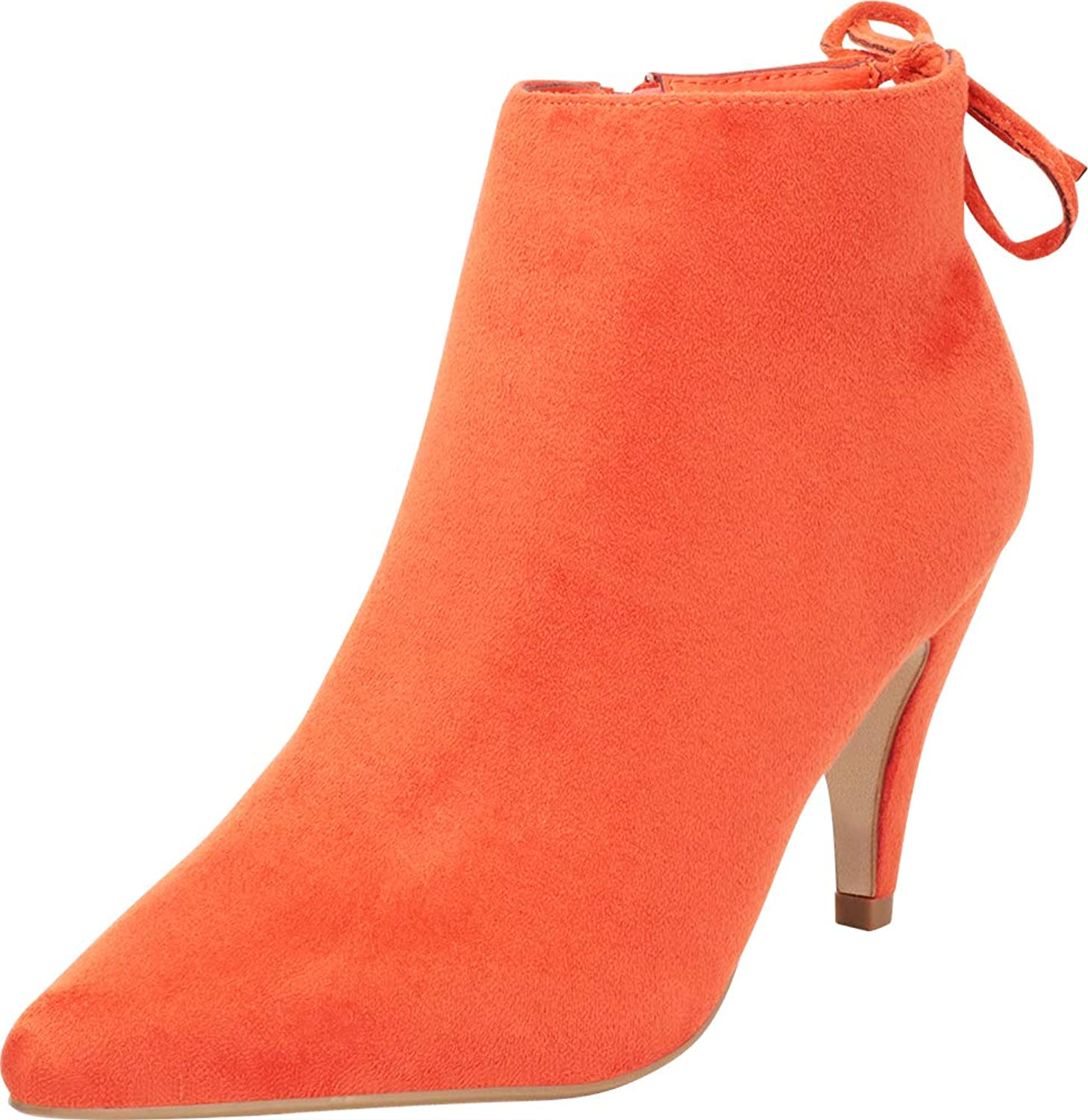 Cambridge Select Women's Pointed Toe Back Tie Mid Heel Ankle Bootie