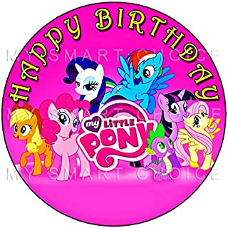 7.5 Inch Edible Cake Toppers – My Little Pony Pink Themed Birthday Party Collection of Edible Cake Decorations