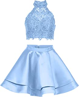 Women's LIPOSA Girl's Lace Halter Short Prom Dress2 pc's