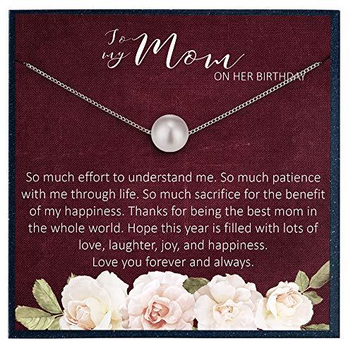 Grace of Pearl Regalo de cumpleaños para mamá en su cumpleaños, joyería de regalo para madre de hija, madre, tarjeta de cumpleaños, regalo de cumpleaños para mamá