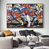 wZUN Animal Dog Street Graffiti Art Lienzo Pintura Carteles y murales para la decoración del hogar de la Sala de Estar 60x90 Sin Marco