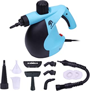 MLMLANT Upgrade Pressurized Steam Cleaner with 11 Piece Accessory Set Purpose and MultiSurface all Natural, Chemical Cleaning for Home, Auto, Patio, More, Blue/Black