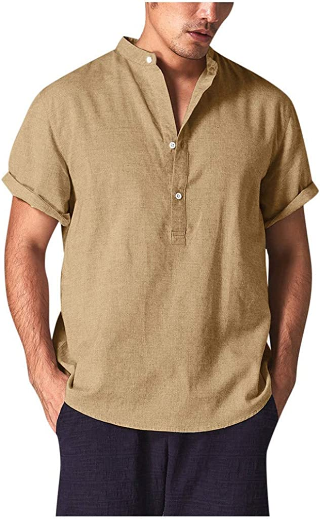 Polo Shirt for Men, F_Gotal Men's T-Shirts Short Sleeve Baggy Cotton Linen Buttons Pure Shirts Blouse Tops with Pockets
