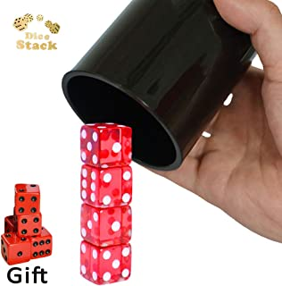 Dice Stacking Cup Set with 4 Pcs 19mm and 5 Pcs 18mm Standard 6 Red Sided Dices Straight Dice Cup with Storage Bag Dice Cup Shaker with Magic Tricks Instruction Black