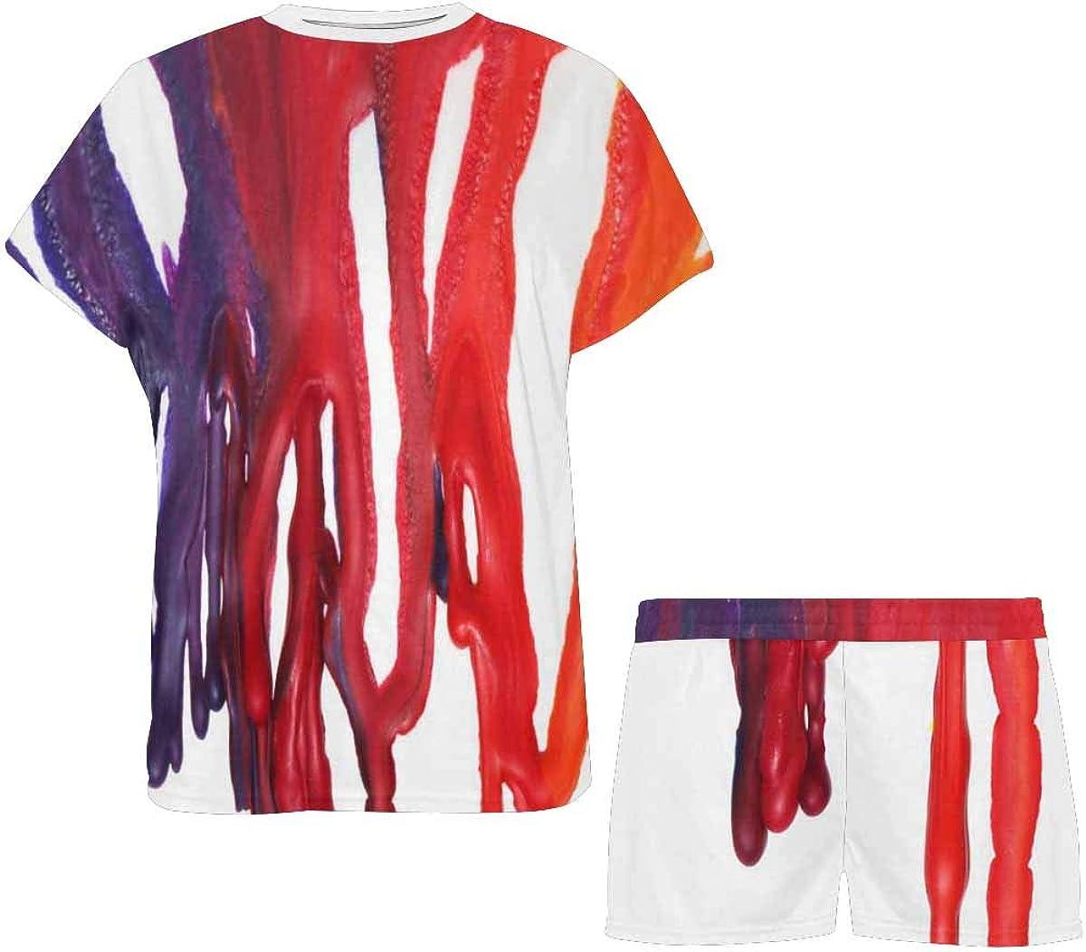 INTERESTPRINT Paint Dripping Women's Pajama Sets Short Sleeve Shorts - Pajamas for Women