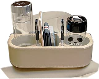 Leather Auto   Car Drink Cup Holder Cell Phone Holder   Organizer Storage Bin, with Pen Hole – Beige/Tan - Universal