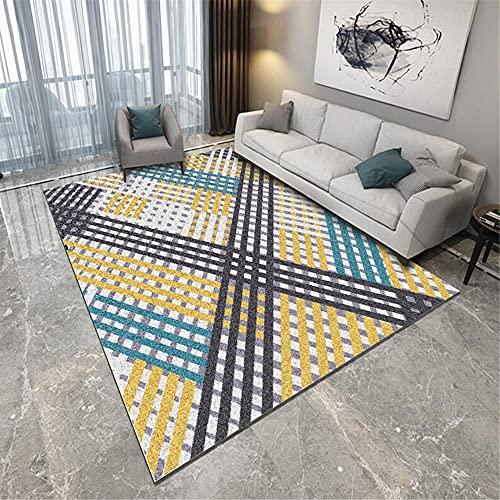 Kunsen Camera Matrimoniale tappeti per Soggiorno Soggiorno Tappeto Gray Bottom Blue Yellow Brown Line Pattern Resistente all'Usura sogiorno mobili Moderni 200x300cm 6ft 6.7' X9ft 10.1'