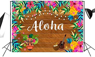 7x5ft Tropical Hawaiian Aloha Backdrop for Luau Party with Wooden and Palm Leaves Photography Background FT024